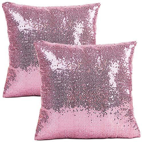 JOTOM Funda de Almohada con Lentejuelas con Brillo de Color sólido, Funda de cojín Cuadrada para sofá, decoración para el hogar, 40x40 cm, Juego de 2 (Rosado)
