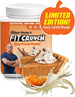 FITCRUNCH Whey Protein Powder, Designed by Robert Irvine, Limited Edition Flavor, 120 Calories and 25g of Protein, Keto, Gluten Free, Soy Free, and Non-GMO (Pumpkin, 18 Servings)