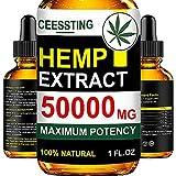 Envisha Hemp Oil for Pain & Stress Relief - 50000mg of Organic Hemp Seed Extract - Rich in Vitamin & Omega - 100% Natural Hemp Drops - Calm Sleep & Mood Support, Good for Skin, Hair & Nails (CS-0A)