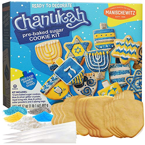 Do-it-yourself, Chanukah Pre-Baked Sugar Cookies Decorating Kit (1lb)   Lots of Fun! Ready to Decorate and Eat! Yields 12 Cookies, Kosher & Fun Hanukkah Activity for the Whole Family!