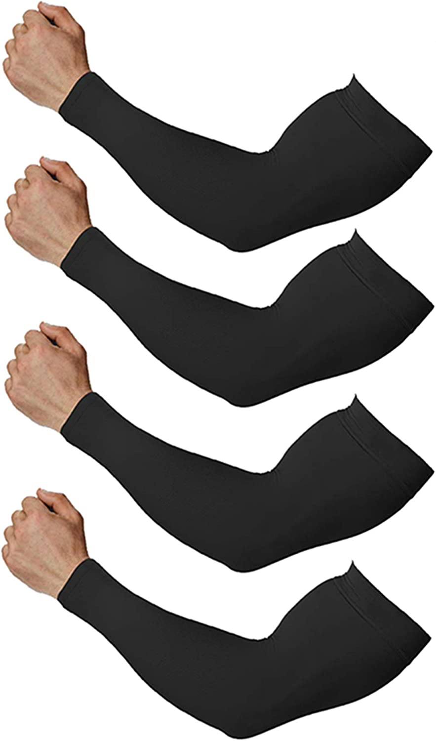 Arm Sleeves for Men and Women, Sleeves to Cover Arms for Men and Women, Gaming Sleeve, UV Protection Cooling Arm Sleeves, 4-Pairs Anti-Slip Compression Sun Sleeves for Cycling Running Outdoor Sports: Clothing