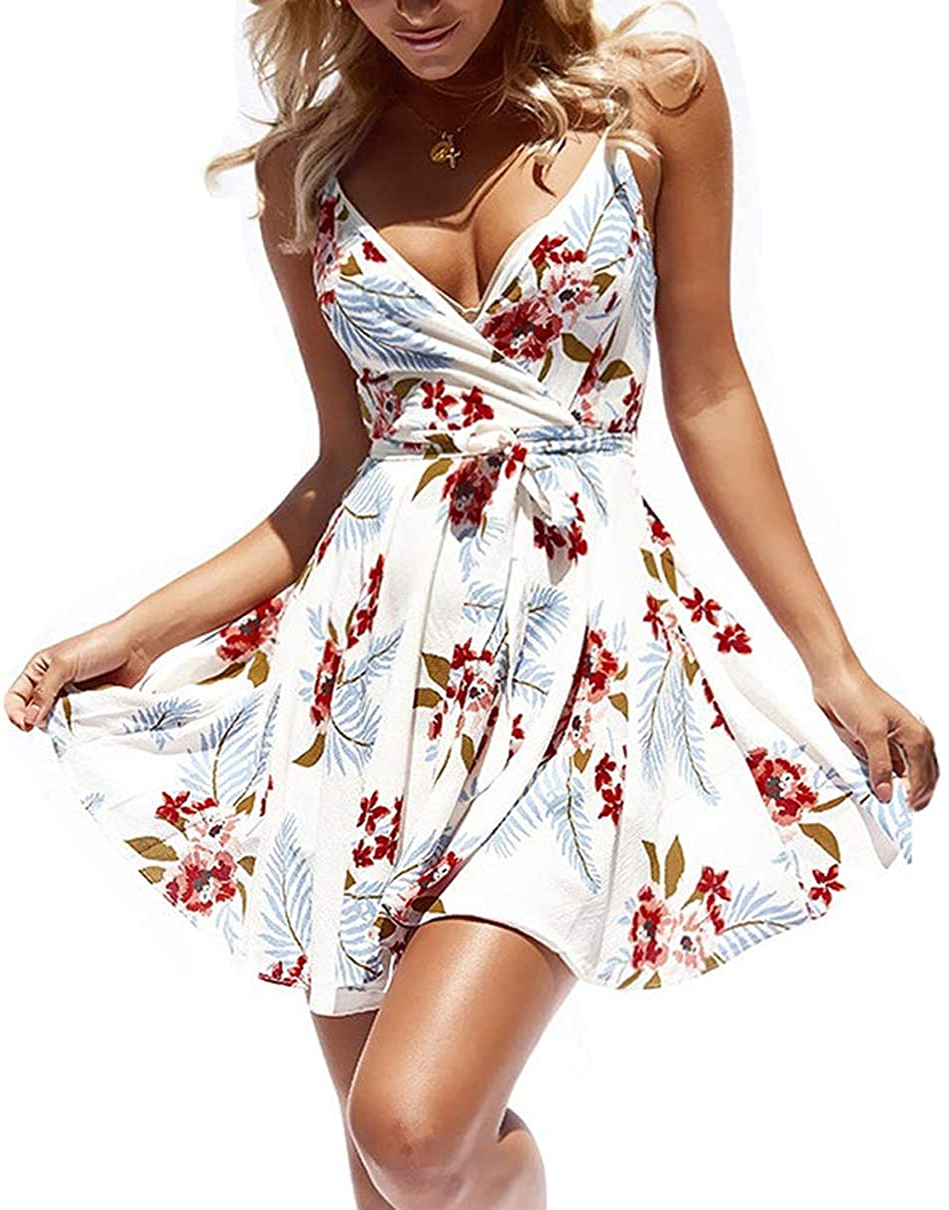 CASURESS Women Dress Summer V Neck Mini Floral Print Swing Dress Sleeveless Spaghetti Strap Skater Dresses with Belt