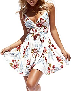 Women Dress Summer V Neck Mini Floral Print Swing Dress...