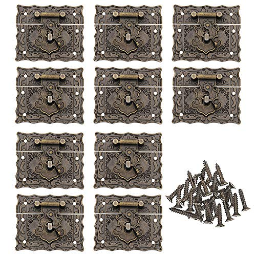 Antike Riegel Hasps, MOPOIN 10 Stück Scharniere Antik Rechteck Verschluss Schluss Haspe Schatullenverschluß Antik Beschläge Schmuckschatulle Schloss mit Schrauben für Verschönern von Kisten