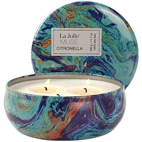 La Jolíe Muse Duftkerze Citronella Kerze in Dose 100% Sojawachs Kerze groß 330g 65std
