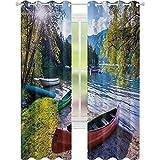 Cortinas térmicas con aislamiento térmico, lago Bohinj con canoas, Parque Nacional Triglav, Alpes Julianos Eslovenia, impresión de 52 x 72, cortinas opacas para sala de estar, multicolor