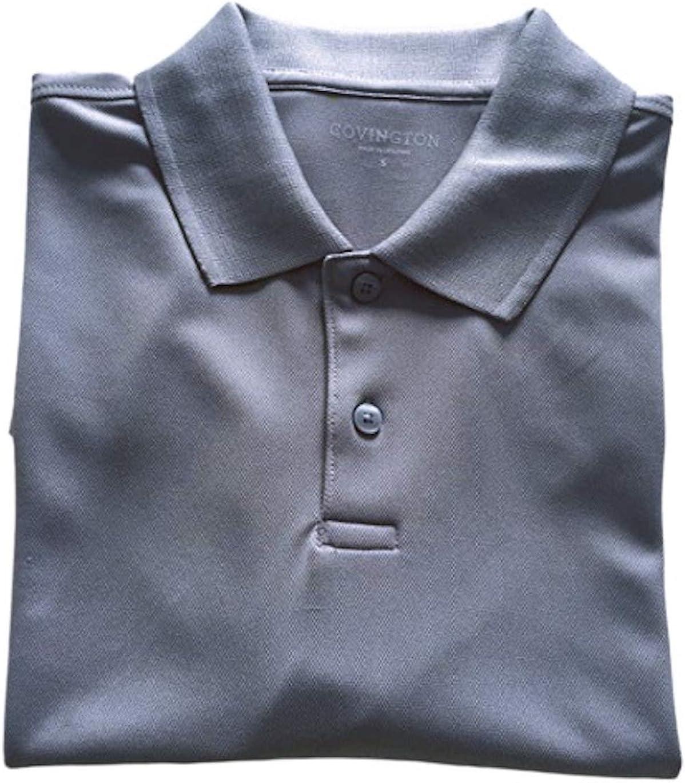 Covington Mens Performance Polo Shirt Short Sleeves Gray Small