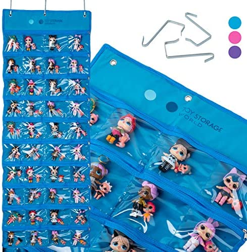 Toy Storage World LOL Hanging Storage Organizer, 40 Clear View Pockets, Roll Up, for Small Dolls, Cars and More, Amazing Surprise, All Around Storage (Pink)