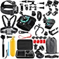 SmilePowo 48-in-1 Accessories Kit for GoPro Hero 9 8 Max 7 6 5 4 3 3+ 2 1 Black GoPro 2018 Session Fusion Silver White Insta360 DJI AKASO APEMAN YI Campark XIAOMI Action Camera (Carrying Case) from SmilePowo