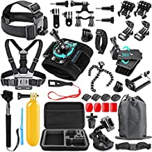 SmilePowo 48-in-1 Accessories Kit for GoPro Hero 9 8 Max 7 6 5 4 3 3+ 2 1 Black GoPro 2018 Session Fusion Silver White Insta360 DJI AKASO APEMAN YI Campark XIAOMI Action Camera (Carrying Case)