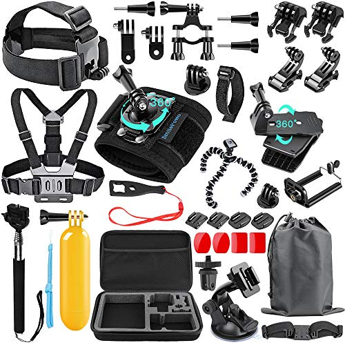SmilePowo 48-in-1 Accessories Kit for GoPro Hero 10 9 8 Max 7 6 5 4 3 3+ 2 1 Black GoPro 2018 Session Fusion Silver White Insta360 DJI AKASO APEMAN YI Campark XIAOMI Action Camera (Carrying Case)