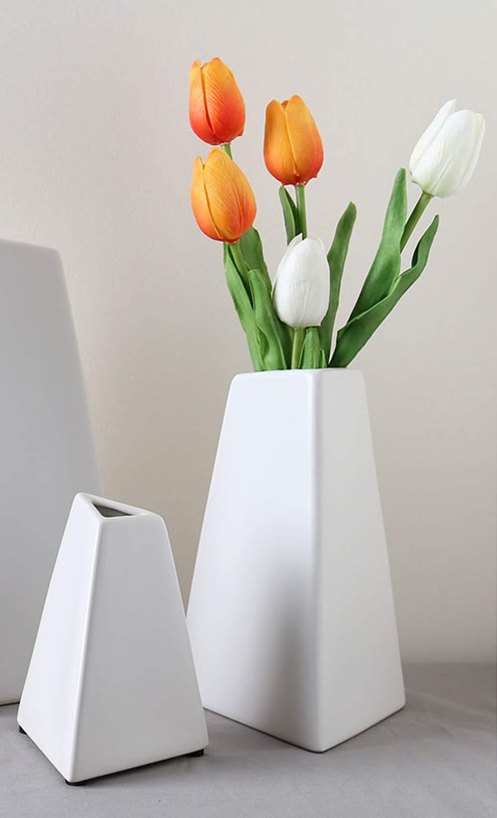 Moderne Chateau White Ceramic Geometric Vases for Flowers. Modern Pyramid Triangle Shape for Home  sc 1 st  Amazon.com & Modern Vase Set: Amazon.com