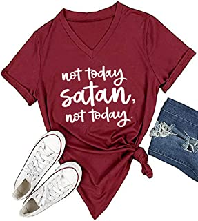 Women Not Today Satan V-Neck Graphic T-Shirt Casual Tops Tees
