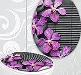 StickerProfis 'Sedile WC adesivi Pink Orchids Design Schermo parete per WC stanza incl. 2adesivi per piastrelle Orchidee