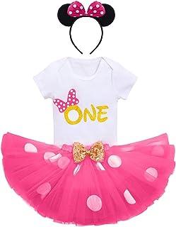 FYMNSI Baby Mädchen 1/2 / 1. / 2. / 3. Geburtstag Outfit Baumwolle Kurzarm Strampler  Gepunktet Tütü Rock  Ohr Stirnband 3tlg Bekleidungsset