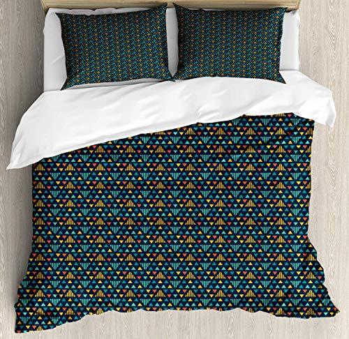 LREFON Juego de Cama Geométrico de Motivos repetitivos de Forma Triangular Irregular 1 Quilt Cover 86'x70'+ 2 Pillowcases 30' X 20'