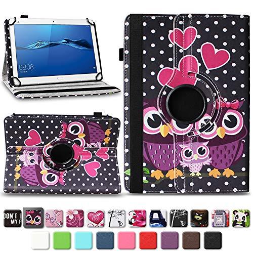 NAmobile Schutzhülle kompatibel für Huawei MediaPad T1 T2 T3 T5 10 Tablet Hülle Tasche Schutzhülle Case 360 Drehbar, Farben:Motiv 4