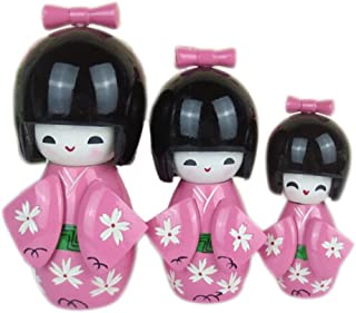 Kylin Express 3 Pcs Lovely Japanese Kimono Girl Wooden Dolls with Cherry Blossoms, Pink