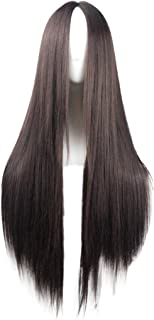 Flonding 75cm 29.5 inches Dark Brown Wig Women's Long Straight Middle Part Synthetic Hair Wigs No bangs Cosplay Anime Halloween Costume Party Hair Wig for Women with Wig Cap