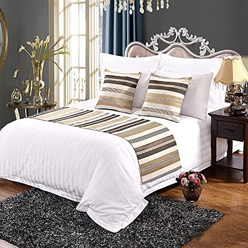 Mrzyzy Bed Runner Suave y Decorativo y Protector Moderno Europeo Amigable con el Medio Ambiente Impresión Geométrica Simple de Estilo y Teñido Camas de Habitación de Hotel Colcha de Lujo
