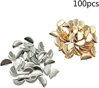 100 Pcs 2 Color Half Round Ribbon Crimps Cord End Caps Clasps Clamp Cord Cap Tip for DIY Jewelry Making (20mm)