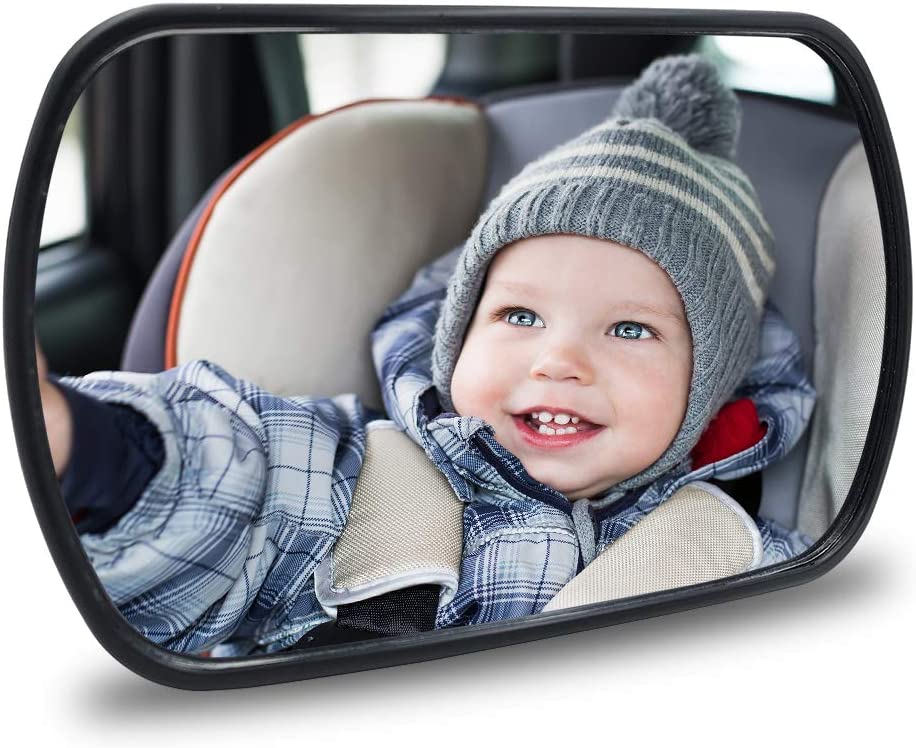 Baby Car Mirror - Rear View Baby Car Back Seat Mirror - Child Observation Mirror Wide Convex and Shatterproof - 2 way of Connection Suitable for both Rear-facing and Forward-facing