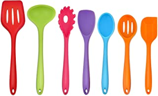 TeamFar Silicone Kitchen Utensils, 7-Piece Kitchen Cooking Utensil Set with Turner Spoon Spatula Ladle, Perfect for Baking...