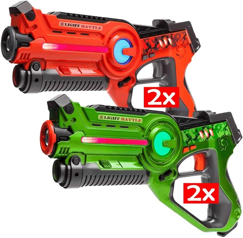 Light Battle 4 Active Laser Tag spielzeugpistole für Kinder  2X laserpistole grün und 2X lasertag Pistole Orange - LBAP10412