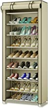 TXT&BAZ 27-Pairs Portable Shoe Rack with Nonwoven Fabric Cover (10-Tiers Beige)