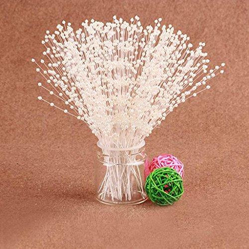 C.X.Y. 100 Fiore Filo Perla Bianco Bouquet DIY Decorazione Matrimonio Ghirlanda (Avorio)