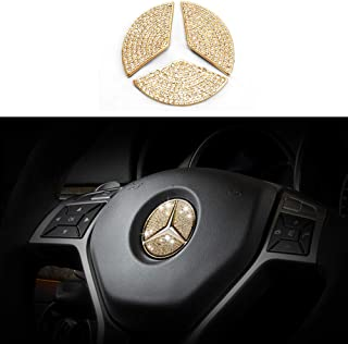 TopDall Steering Wheel Bling Crystal DIY Accessories Gold Sticker for Mercedes Benz
