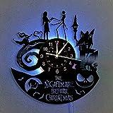 The Nightmare Before Christmas Vinyl Record Wall Clock LED Light 12' Vinyl CD Quartz Clock |Creative Hanging Lamp 7 Color Luminous Wall Clock (with LED) | Handmade Interior Home Decor