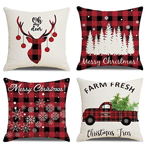 vigvog Waterproof Christmas Cushion Covers, Grid Pillow...