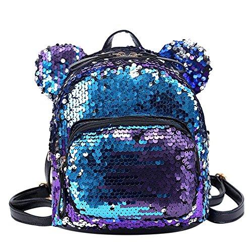 Mochila de viaje OneMoreT, con lentejuelas brillantes y purpurina, para niñas, azul
