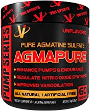 VMI Sports® AGMAPURE® Pure Natural Agmatine Sulfate for Intense Muscle Pumps & Strength Workouts, Nitric Oxide Booster To Support Performance and Vascularity, Energy & Endurance, 60serv, Unflavored