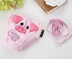 Stock Show 2Pc Cute Pig Pattern Cotton Pet Female Dog Diapers Sanitary Physiological Pants, Washable Reusable Small Medium Girl Puppy/Doggie Panties Underwear