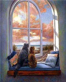 WYTCY Pintar Por Números: Gato De Ventana, Pintura Al Óleo Sobre Lienzo De Lino, Pintura De Arte Moderno, Kit De Pintura De Bricolaje, Adecuado Para Adultos Y Principiantes40 * 50 Cm