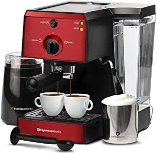 EspressoWorks 7 Pc All-In-One Espresso Machine & Cappuccino Maker Barista Bundle Set w/Built-In Steamer & Frother (Inc: Coffee Bean Grinder, Milk Frothing Cup, Spoon/Tamper & 2 Cups), (Red)