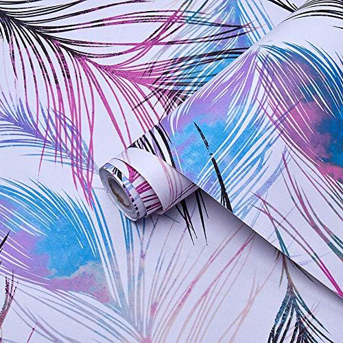 Magicvalley Papel Pintado Autoadhesivo Decorativo de Plumas de Vinilo para Muebles para Paredes, estantes, armarios, cajón, Armario, Mesa extraíble (Multi-púrpura, 45CMX3M)
