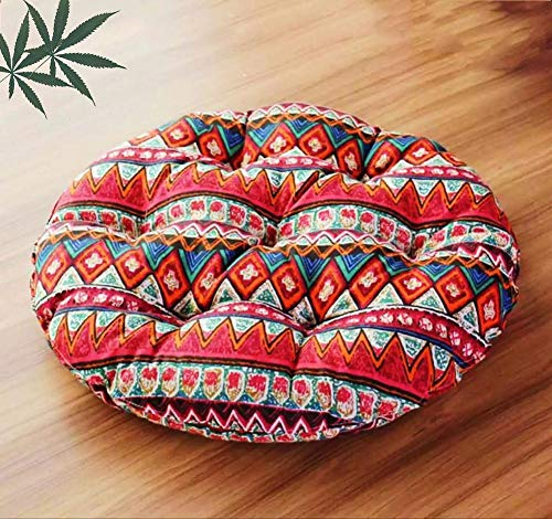 Lefran Tatami Floor Cushions,Round Solid Color Seat Cushions,Cotton Thicken Chair Pad Floor Pillow For Patio Dining T Diameter68cm(27inch)