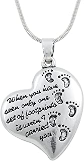 Lemegeton Footprints in the Sand Beautiful Poems Heart Shaped Necklace Gift Jewelry for Men Women