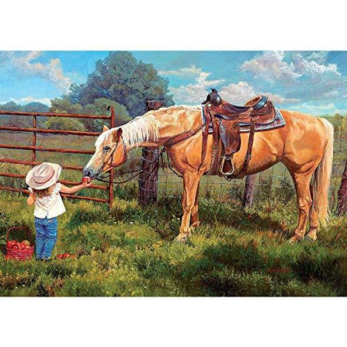 diamond painting horse MXJSUA Kit fai da 5D per pittura mosaico per adulti Full Drill Horse Girl Landscape Diamond Paintings Art Canvas Wall Decor strass perline ricamo punto croce artigianato arte decorazione casa 30x40cm