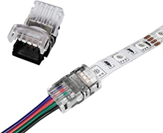 Alightings RGB LED Connector for 4Pin 5050 Non-Waterproof LED Strip Lights- Strip to Wire Quick Connection, 20 - 18 AWG Wire No Stripping