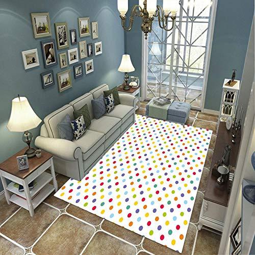 BLZQA Alfombra Moderna de Pelo Corto Puntos de Colores Alfombra De Salón Antideslizante Salón Dormitorio Fácil de cuidar, al Aire Libre Cámping Viaje 100 x150 cm