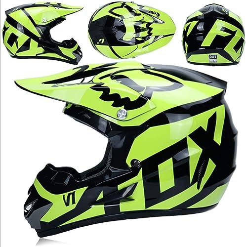 M er und Frauen Paar Vollgesichts-Motorrad-fürradhelm ATV Karting-Helm Langlauf-Sand-Country-Rennhelm (Maskenhandschuhe Brille)
