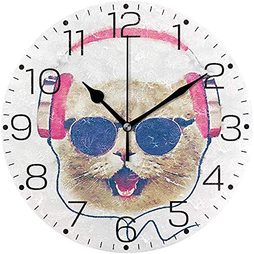 Musicien Animal Mignon Chat Visage Horloge Murale Silencieux Ronde Horloge Murale Non Ticking Fonctionné sur Batterie Creative Horloge Décorative