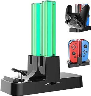 Nintendo Switch用コントローラー充電 Joy-Con充電スタンド 5WAY充電可能 ジョイコン急速充電 プローコントローラー充電ホルダー チャージャー 充電指示LED付き (ブラック)
