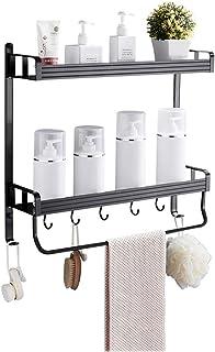 Cuarto de baño Negro Estante Inodoro Espacio de Aluminio baño Inodoro Estante Perforado Pared Colgante ángulo (Color : 50C...