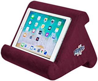 Flippy Multi-Angle Soft Pillow Lap Stand for iPads, Tablets, eReaders, Smartphones, Books, Magazines (Burgundy)
