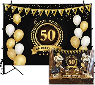 Allenjoy Gold and Black Balloons 50th Birthday Photography Backdrop for Adult 7x5ft Fifty Years Old Party Photo Background Studio Props